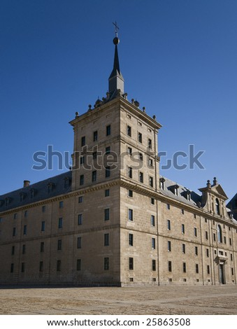 Royal Monastery of San Lorenzo de El Escorial. Madrid, Spain. Tower detail.