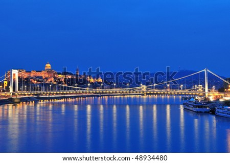 Royal Palace and Elizabeth bridge from Danube river at night - Budapest (Hungary) Photo taken at blue hour: March 17th, 2010 - stock photo