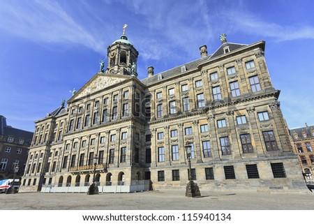 Royal Palace at the Dam Square, Amsterdam. It was built as city hall during the Dutch Golden Age in the seventeenth century.
