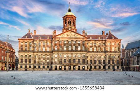 Royal Palace at the Dam Square in Amsterdam, Netherlands. No people in Dam Square in Amsterdam, Netherlands.