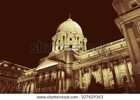 royal palace cupola at night, budapest, hungary