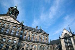 Royal Palace in Amsterdam. Dutch - Koninklijk Paleis Amsterdam or Paleis op de Dam