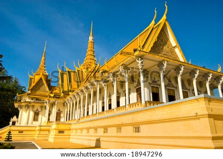 Royal palace in Pnom Penh before Sunset, Cambodia.