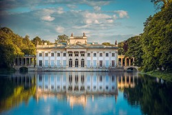 Royal Palace on the Water in Lazienki Park, Warsaw, Palace on the water in the Royal Baths in Warsaw, Poland