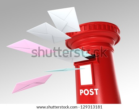 Royal post box with  letters flying toward it