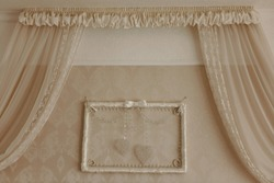 Royal room interior ideas. Bridal suite in a hotel. Beige walls and curtains