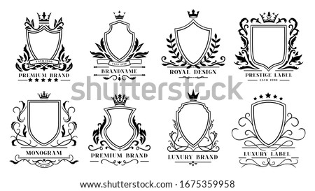Royal shields badges. Vintage ornamental frames, decorative royal swirl heraldic borders and luxury filigree wedding emblems. Knights shield heraldic decoration isolated  icons set