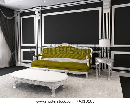 Royal Sofa and table with lamp, furry carpet in luxurious interior