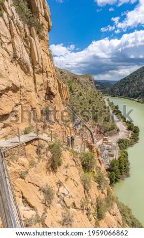 Royal Trail (El Caminito del Rey) in Gorge of the Gaitanes Chorro, Malaga province, Spain. Foto stock ©