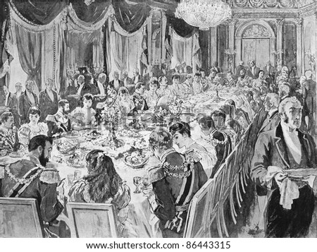 Royal wedding breakfast in the throne room at the Ehrenberg palace. Engraved by anonymous engraver and published in The Graphic newspaper, United Kingdom, 1894.