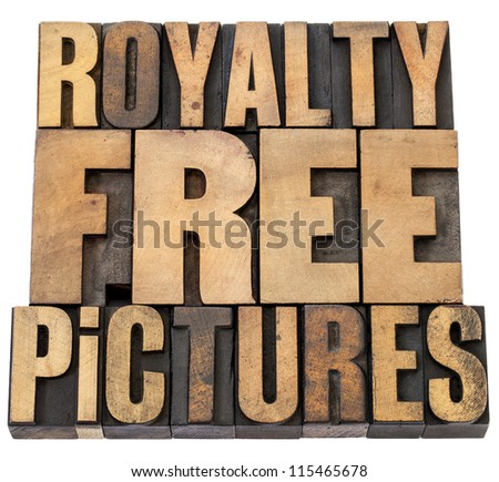royalty free pictures - isolated words in vintage letterpress wood type