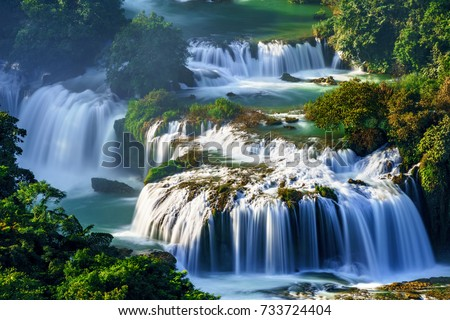 "Royalty high quality free stock image aerial view of "" Ban Gioc "" waterfall, Cao Bang, Vietnam. "" Ban Gioc "" waterfall is one of the top 10 waterfalls in the world. Aerial view"