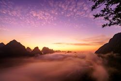 Royalty high quality free stock image aerial view of dawn at Ngoc Con town, Trung Khanh, Cao Bang, Vietnam