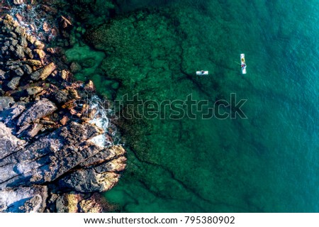 Royalty high quality free stock image aerial view of Fishermen at Thom island in Phu Quoc, Kien Giang, Vietnam
