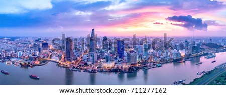 Shutterstock Royalty high quality free stock image aerial view of Ho Chi Minh city, Vietnam. Beauty skyscrapers along river light smooth down urban development in Ho Chi Minh City, Vietnam.