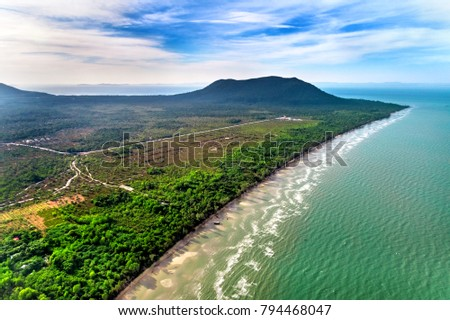 Royalty high quality free stock image aerial view of Hon Mot beach in Phu Quoc island, Kien Giang, Vietnam