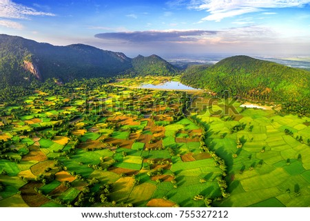 Royalty high quality free stock image aerial view of rice fields in Mekong Delta, Tri Ton town, An Giang province, Vietnam. Ta Pa rice field.