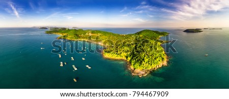 Royalty high quality free stock image aerial view of Thom island in Phu Quoc, Kien Giang, Vietnam