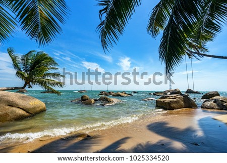 Photo of Royalty high quality free stock image of boats at coconut beach on Son island, Kien Giang, Vietnam. Near Phu Quoc island