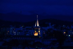 Royalty high quality free stock image top view of Chicken church at sunset in Da Lat city, Vietnam.