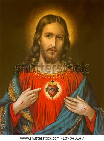 ROZNAVA, SLOVAKIA, JANUARY 1, 2014: Copy of typical catholic image of heart of Jesus Christ from Slovakia printed on 19. April 1899 in Germany originally by unknown artist.