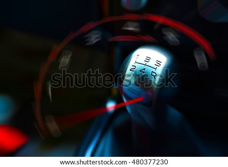 Rpm gauge and gearstick for speed driving Stock photo ©