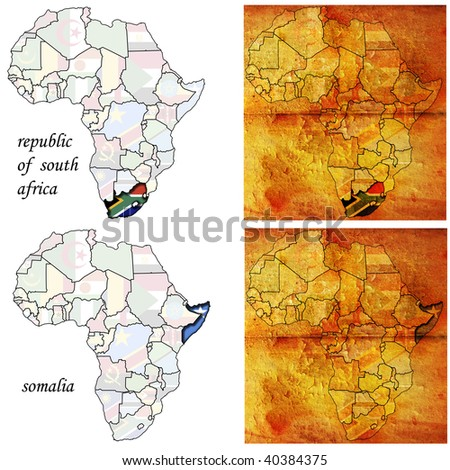 rsa & somalia on two kinds of africa map