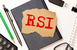 RSI - Relative Strength Index acronym, business concept background.