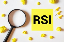 RSI. The text is written on a yellow sheet. The markers and sheets of paper are on the table