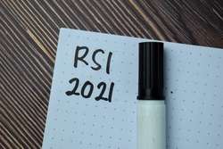 RSI 2021 write on a book isolated on office desk.