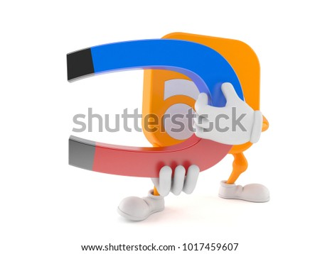 RSS character holding horseshoe magnet isolated on white background. 3d illustration
