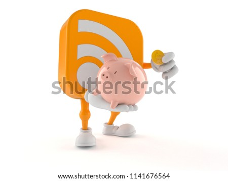 RSS character holding piggy bank isolated on white background. 3d illustration