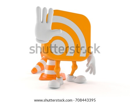 RSS character making stop gesture isolated on white background. 3d illustration