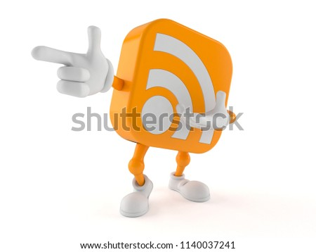 RSS character pointing finger isolated on white background. 3d illustration