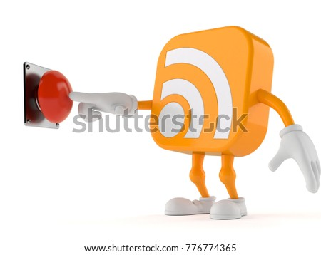 RSS character pushing button isolated on white background. 3d illustration