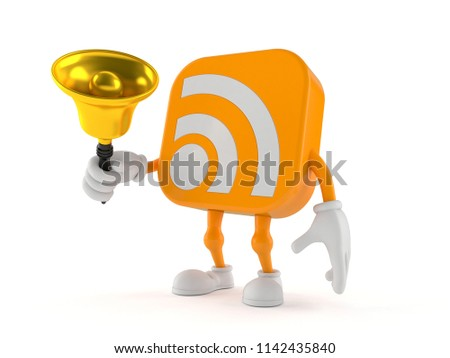 RSS character ringing a handbell isolated on white background. 3d illustration