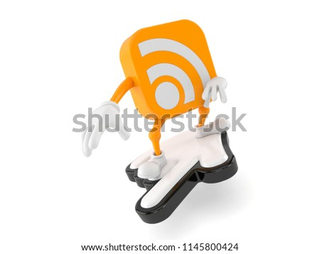 RSS character surfing on cursor isolated on white background. 3d illustration