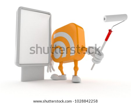 RSS character with blank billboard isolated on white background. 3d illustration