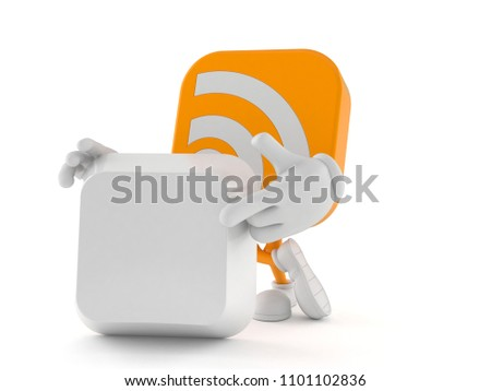 RSS character with blank keyboard key isolated on white background. 3d illustration