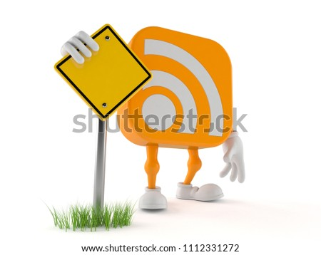 RSS character with blank road sign isolated on white background. 3d illustration