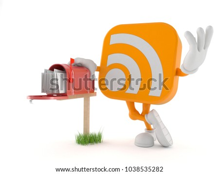 RSS character with mailbox isolated on white background. 3d illustration