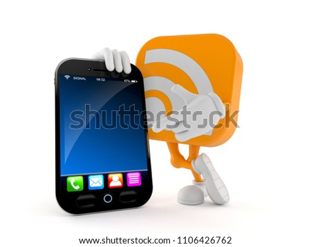 RSS character with smart phone isolated on white background. 3d illustration