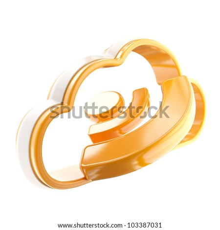 RSS cloud technology glossy icon emblem isolated on white