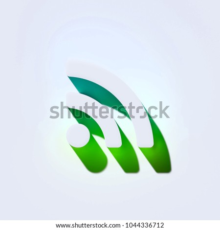 Rss Feed Icon on the Aqua Wall. 3D Illustration of White Blog, Feed, News, Rss Icons With Aqua and Green Shadows.