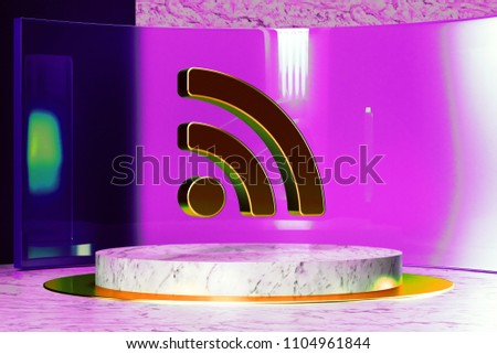 Rss Feed Icon on White Marble and Magenta Glass. 3D Illustration of Stylish Golden Blog, Feed, News, Rss Icon Set in the Magenta Installation.