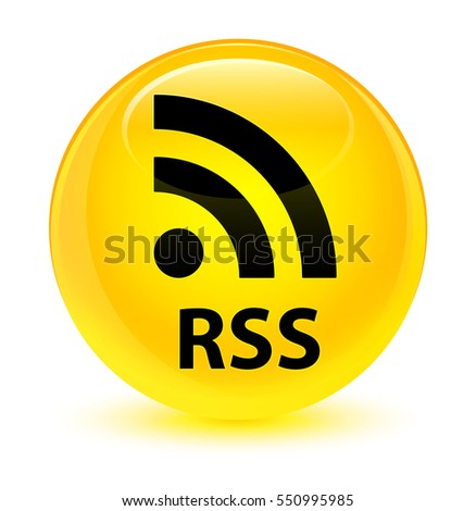 RSS glassy yellow round button