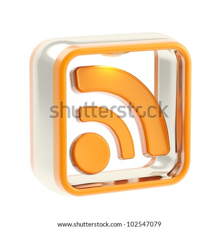 RSS glossy icon as application emblem isolated on white