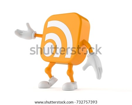 RSS icon character isolated on white background. 3d illustration
