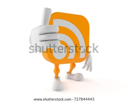 RSS icon character with thumbs up isolated on white background. 3d illustration