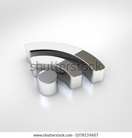 RSS icon. 3d render of chrome rss symbol isolated on white background.